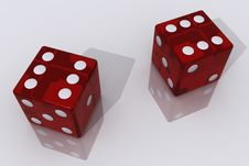 Two Red Dices Royalty Free Stock Photo