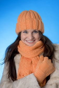 Free Beautiful Brunette Girl In The Orange Cap Royalty Free Stock Photos - 8081548