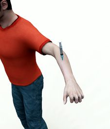 Free Needle In Mans Arm Royalty Free Stock Photography - 8083897