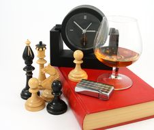 Still Life With Book And Glass Cognac