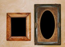 Wintage Photo-frames On Wooden Wall Stock Image