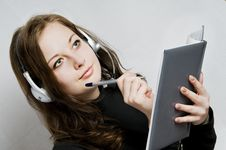 Free Girl In Headphones And Notebook Stock Photo - 8086540