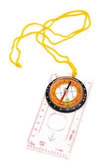 Free Compass With A Yellow Cord Stock Photos - 8086543