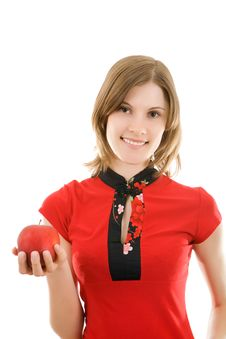 Free Smiling Girl With A Red Apple. Isolated. Royalty Free Stock Images - 8087069