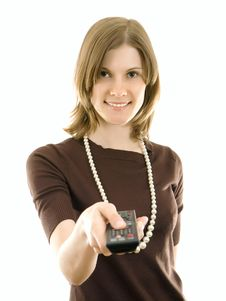 Free Beautiful Girl With A Remote Control. Royalty Free Stock Photo - 8087085