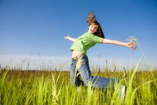 Free Happy Jumping Young Woman Stock Images - 8087424