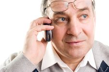 Free Senior Man Talking On Mobile Phone Royalty Free Stock Photo - 8087445