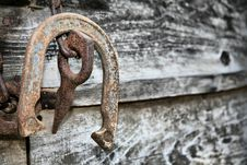 Free Old Rusted Horseshoe And Log Splitter Stock Photo - 8087620