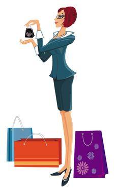 Free Shopping Pretty Woman. Royalty Free Stock Photography - 8087747