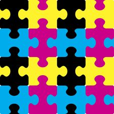 Free Puzzle CMYK Seamless Pattern. Stock Photo - 8089180