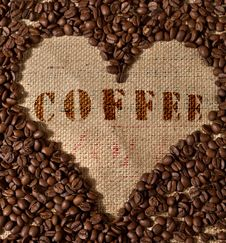 Free Heart Shape Made From Coffee Stock Photography - 8089232