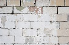 Old White Washed Cement Brick Wall Stock Photography