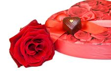 Free Love And Chocolate - Red Rose Isolated On White Stock Photography - 8089762