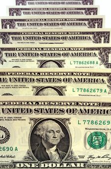 Free Dollar Bills Standing Up Royalty Free Stock Photography - 8089807
