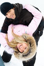 Free Happy Couple In Winter Park Stock Photo - 8098500