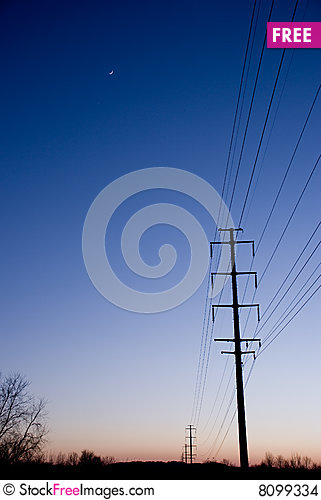 Free Electric Lines At Sunset Copyspace Stock Images - 8099334