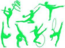 Rhythmic Gymnastics Exercises Royalty Free Stock Photo