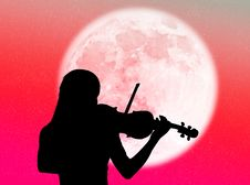 Free Violinist In The Moon Royalty Free Stock Photo - 8090575