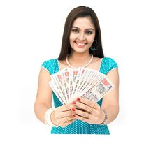 Free Lady With Currency Notes Royalty Free Stock Photo - 8090675