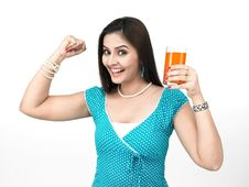 Free Woman With A Glass Of Juice Stock Photos - 8091013