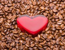 Free Glossy Heart In Coffee Beans Stock Images - 8092224