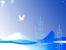 Free Bird On Sky Illustration Royalty Free Stock Images - 8092369