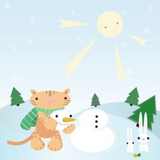 Cat Making Snowman. Stock Images