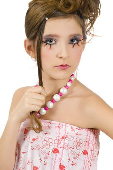 Closeup Of Fashion Girl With Special Eye Makeup Stock Image