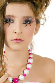 Closeup Of Fashion Girl With Special Eye Makeup Royalty Free Stock Photography