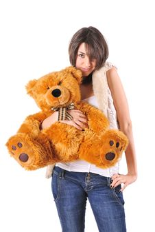 Free Girl With Teddy Bear Stock Images - 8094394