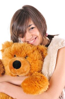 Free Girl With Teddy Bear Royalty Free Stock Photo - 8094475