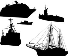 Free Five Ship Silhouettes Royalty Free Stock Photo - 8094805