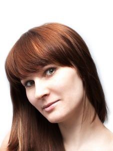 Portrait Of Beautiful Red-haired Woman Stock Images