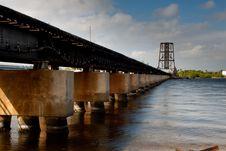 Free Railroad Bridge Across River Royalty Free Stock Photos - 8095318