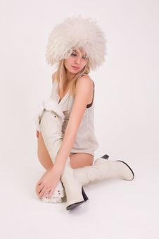 Free Upset Young Girl In Furry Hat Royalty Free Stock Photo - 8095575