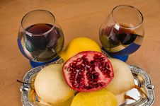 Wine And Fruit. Stock Images