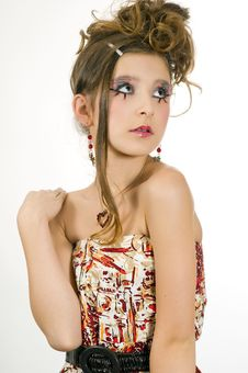 Fashion Girl With Special Eye Makeup Royalty Free Stock Photography