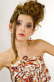 Fashion Girl With Special Eye Makeup Royalty Free Stock Photos