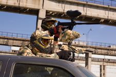 Free Paintball Players On The Car Stock Photos - 8096333