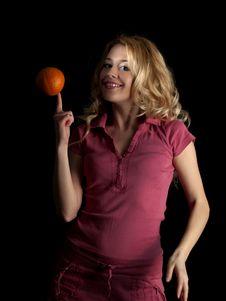 Free Teen Beauty Spinning Orange Stock Image - 8097331
