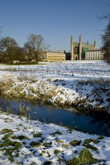 Kings College Chapel Cambridge In The Winter Snow Royalty Free Stock Image