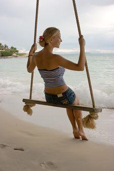Girl On Rope Swings Stock Image