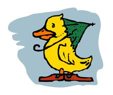 Duck With An Umbrella On A Blue Background Royalty Free Stock Image