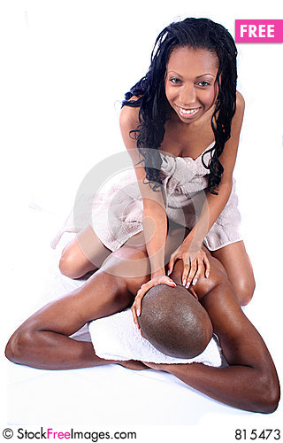 African American Couple at Spa Stock Photo