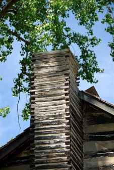 Old Log Cabin Chimney Stock Photography