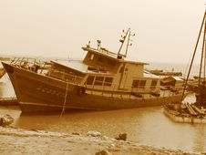 Free Fishing Boat In Sepia Stock Photography - 810292