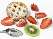 Apricot Pie With Strawberries Royalty Free Stock Photos
