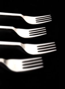 Forks On Black Royalty Free Stock Photography