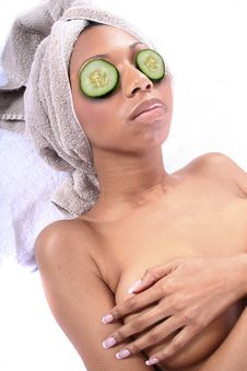 Free Spa - Facial With Cucumber Stock Photo - 815280