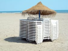 Two Piles Of Beach Chairs Stock Image